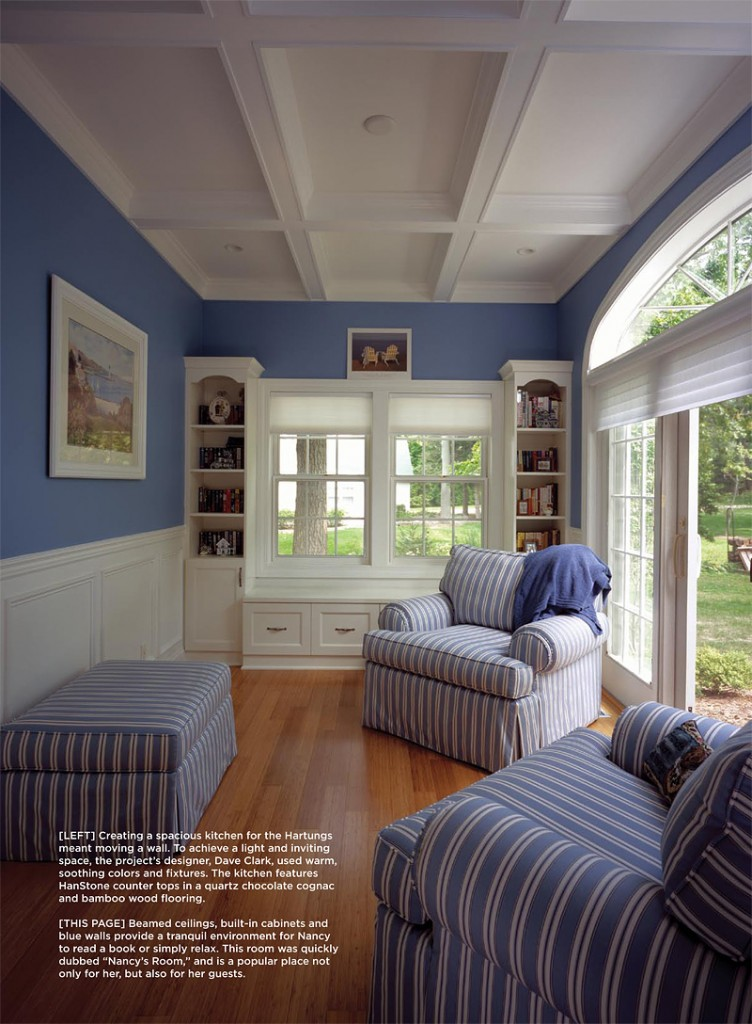 "Beamed ceilings, built-in cabinets and blue walls provide a tranquil environment for Nancy to read a book or simply relax. This room was quickly dubbed ""Nancy's Room,"" and is a popular place not only for her, but also for her guests."